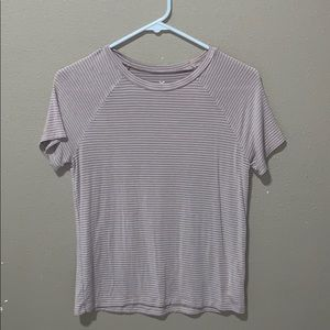 American eagle pink and white stripped shirt